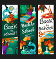 back to school lesson stationery banners vector image vector image