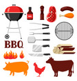Bbq set grill objects and icons