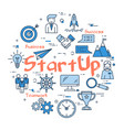 blue round startup concept vector image vector image