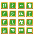 brazil travel symbols icons set green vector image vector image