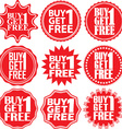 Buy 1 get 1 free red label Buy 1 get 1 free red vector image vector image