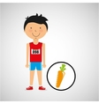 cartoon boy athlete with carrot vector image vector image