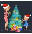 cartoon mother and kid decorating christmas tree vector image