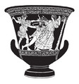 crater is a vase in which used wine and water vector image vector image