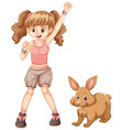 cute girl with brown bunny vector image vector image