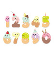Cute kawaii numbers made of sweets Funny vector image