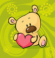 cute teddy bear hold heart - valentine vector image vector image