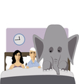 Elephant in the bedroom vector image vector image
