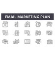 email marketing plan line icons for web and mobile vector image vector image