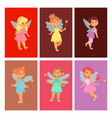 fairies princess cards fairy girl character vector image
