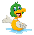 funny baby duck cartoon posing vector image