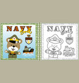 funny naval troop cartoon with gunboat coloring vector image