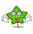 geek green ivy leaf on character cartoon vector image