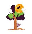 ghost bats moon tree leaves trick or treat happy vector image