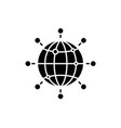 global connection black icon sign on vector image vector image