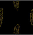 golden feather decor seamless pattern vector image vector image