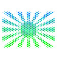 halftone blue-green japanese rising sun icon vector image