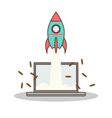 Isolated cartoon rocket and laptop online start up vector image vector image