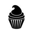 isolated cupcake silhouette icon vector image vector image