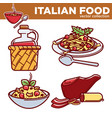 italian food collection of delicious vector image
