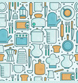 kitchen equipment and tableware seamless pattern vector image