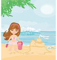Little girl at tropical beach making sand castle vector image