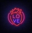 love symbol neon sign on the theme of vector image vector image