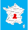 map state auvergne location on france vector image vector image