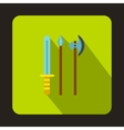 Medieval weapons icon flat style vector image