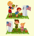 memorial day mother with child on cemetery vector image