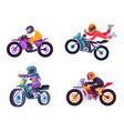 motorized bike racers bicyclist isolated on white vector image vector image