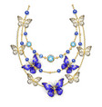 necklace with sapphire butterflies vector image