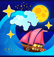 night storm waves and wind a sailing ship on the vector image vector image
