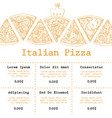 pizza food menu for restaurant and cafe design vector image