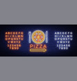 pizza logo emblem neon sign logo in neon style vector image vector image
