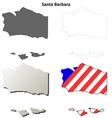 Santa Barbara County California outline map set vector image vector image