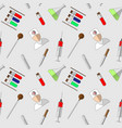 seamless pattern of medical laboratory symbols vector image vector image