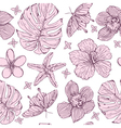 seamless pattern tropical flowers vector image vector image