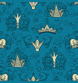 seamless pattern with crowns in doodle style vector image