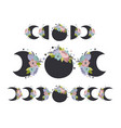 set isolated floral moon phases vector image