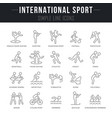 set line icons international sport vector image vector image