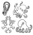 set of octopus icons isolated on white background vector image vector image
