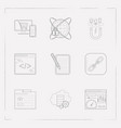 set of webdesign icons line style symbols with e vector image