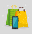 shopping bags with smartphone to special sale vector image vector image