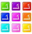 treadmill icons 9 set vector image vector image