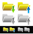 upload-download icons folders with arrows with vector image