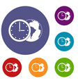 world planet with watch icons set vector image vector image
