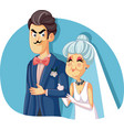 young groom marrying older woman for money vector image vector image
