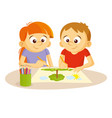 boy and girl draw picture vector image
