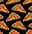 Pizza pattern Piece of tasty pizza on black vector image